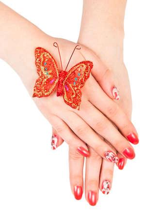 Woman handen met manicure geïsoleerd over white