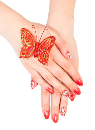 Woman hands with manicure isolated over white photo