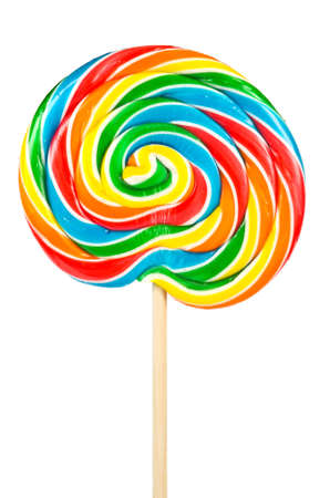 Large lollipop on stick isolated on white photo