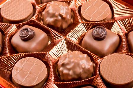 praline: Praline candies in box close up Stock Photo