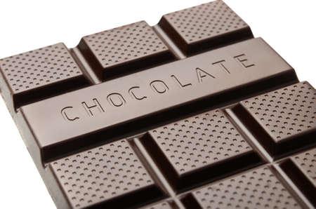 Chocolade bar close-up op een witte