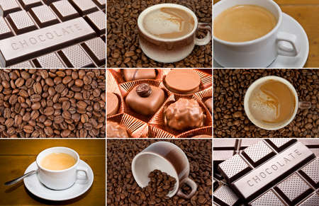 foam box: Coffee and dark chocolate set Stock Photo