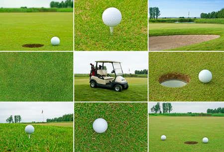 torneio: Set of golf balls, golf course and golf car.