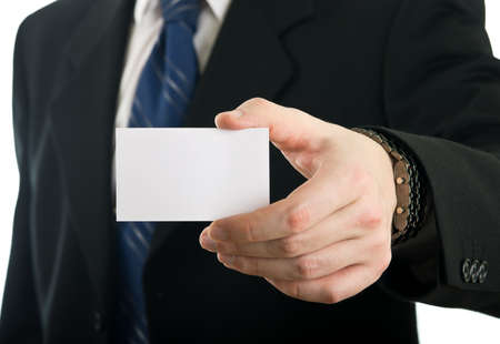 Businessman showing blank visit card Stock Photo - 12359569