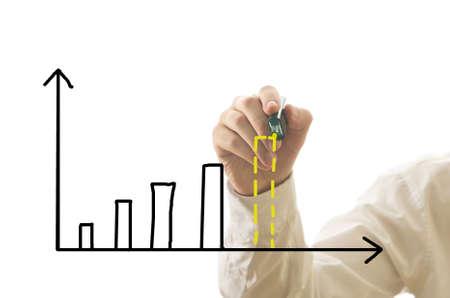 Zakenman tekening staafdiagram van de inkomsten met toekomstige voorspelling op wit wordt geïsoleerd
