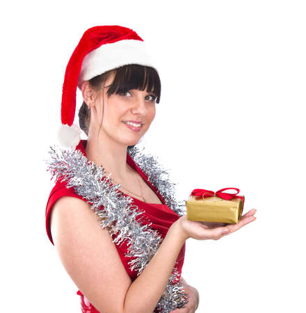 Young woman with gift  in hand isolated on white photo