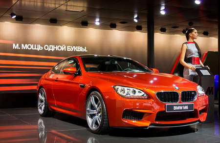 MOSCOW-SEPTEMBER 6: BMW M6 at the Moscow International Automobile Salon on September 6,2012 in Moscow
