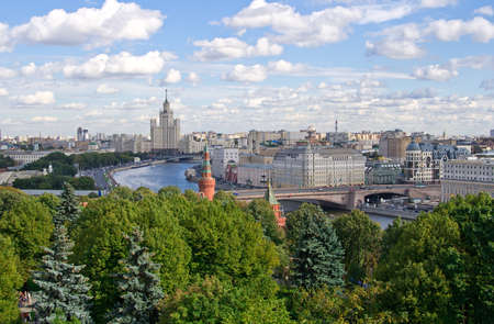 Aerial view of Moscow River and Moscow center in Russia photo