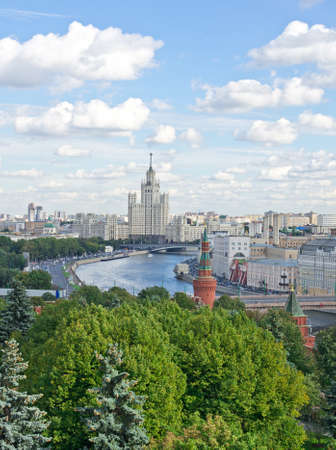 Aerial view of Moscow river and part of Kremlin in Moscow, Russia photo