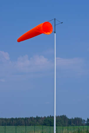 windsock: Windsock on airfield on windy day