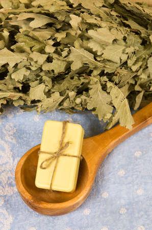 Soap in sauna spoon on towel Stock Photo - 16819283