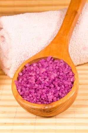Bath salt in wooden spoon Stock Photo - 16885268