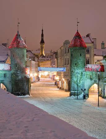estonia: Viru Gate in old city of Tallinn, Estonia