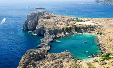 rhodes: St  Paul s bay near Lindos, Rhodes island, Greece Stock Photo