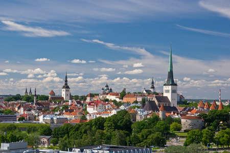 Aerial view of old city of Tallinn, Estonia Фото со стока