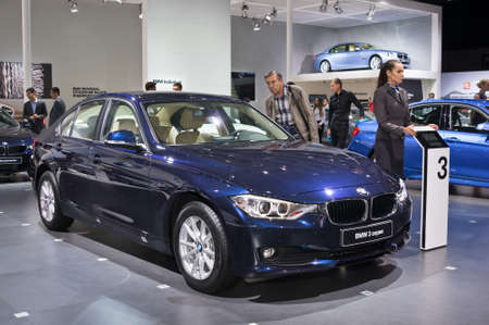 september 2: Moscow-September 2: BMW 3 series  at the Moscow International Automobile Salon on September 2, 2014 in Moscow.