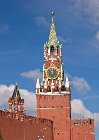 spasskaya: Spasskaya Tower with clock in Moscow Kremlin, Russia Stock Photo