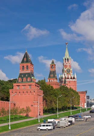 Wall and towers of Moscow Kremlin, Russia photo