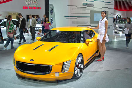 stinger: MOSCOW-SEPTEMBER 2: Kia GT4 Stinger concept at the Moscow International Automobile Salon on September 2, 2014 in Moscow, Russia