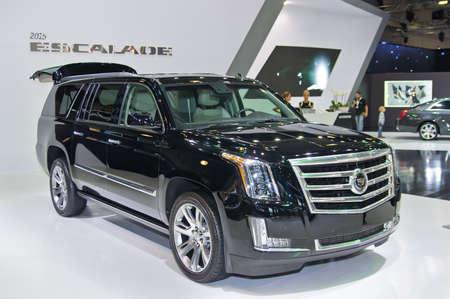 2 Moskou-SEPTEMBER: Cadillac Escalade op de Moscow International Automobile Salon op 2 september 2014 in Moskou, Rusland Redactioneel