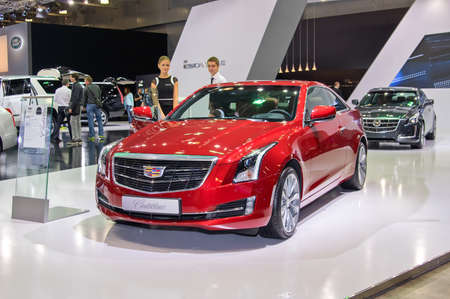 september 2: MOSCOW-SEPTEMBER 2: Cadillac ATS coupe at the Moscow International Automobile Salon on September 2, 2014 in Moscow, Russia