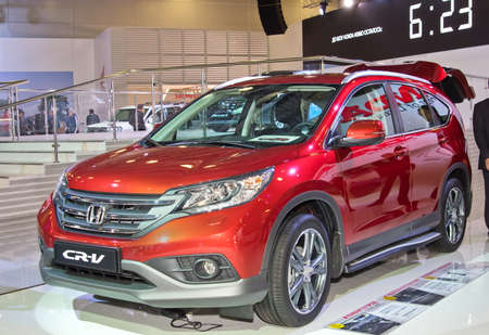 honda: MOSCOW-SEPTEMBER 2: Honda CR-V at the Moscow International Automobile Salon on September 2, 2014 in Moscow, Russia Editorial