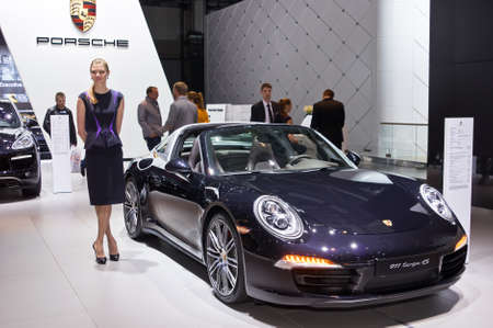 4s: MOSCOW-SEPTEMBER 2: Porsche 911 Targa 4S at the Moscow International Automobile Salon on September 2, 2014 in Moscow, Russia Editorial