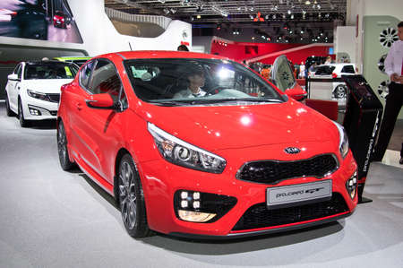 to proceed: MOSCOW-SEPTEMBER 2: Kia Pro Ceed at the Moscow International Automobile Salon on September 2, 2014 in Moscow, Russia