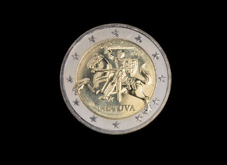 european exchange: Lithuanian 2 euro coin isolated on black