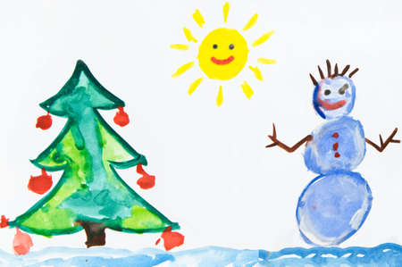 gouache: Drawing with snowman and christmas tree Stock Photo