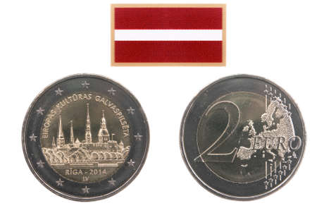 commemorative: Two sides of commemorative coin 2014 of Latvia  isolated on white