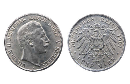 minted: Two sides of old silver coin of German Reich minted in 1907 isolated on white