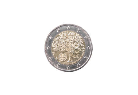 minted: Commemorative coin of Portugal minted in 2007 isolated on white