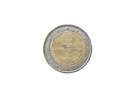 minted: Commemorative coin of Portugal minted in 2008 isolated on white
