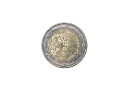 minted: Commemorative coin of Portugal minted in 2010 isolated on white