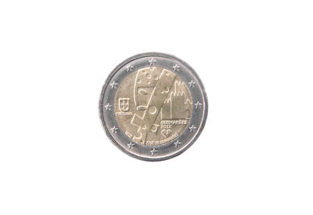 minted: Commemorative coin of Portugal minted in 2012 isolated on white