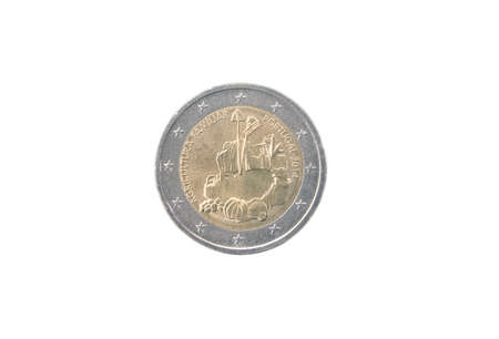 minted: Commemorative coin of Portugal minted in 2014 isolated on white