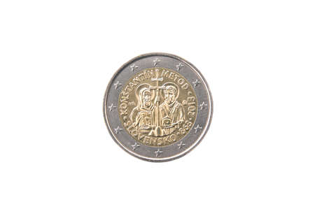minted: Commemorative coin of Slovakia minted in 2013 isolated on white