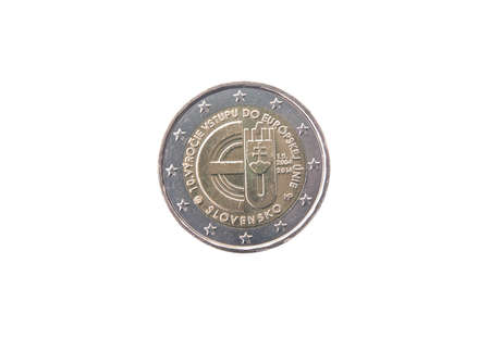 minted: Commemorative coin of Slovakia minted in 2014 isolated on white