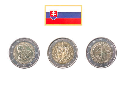 commemorative: Collection of commemorative coins of Slovakia  isolated on white