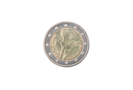 minted: Commemorative coin of Slovenia minted in 2008 isolated on white