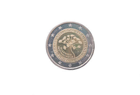 commemorative: Commemorative coin of Slovenia minted in 2010 isolated on white Stock Photo