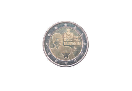 minted: Commemorative coin of Slovenia minted in 2011 isolated on white
