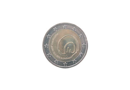 minted: Commemorative coin of Slovenia minted in 2013 isolated on white Stock Photo