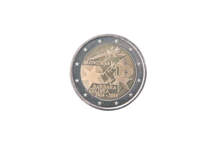 minted: Commemorative coin of Slovenia minted in 2014 isolated on white