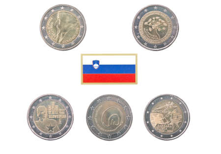 european exchange: Collection of commemorative coins of Slovenia  isolated on white Stock Photo