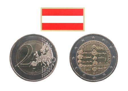 commemorative: Two sides of Commemorative coin of Austria minted in 2005 isolated on white