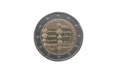 minted: Commemorative coin of Austria minted in 2005 isolated on white