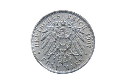 minted: Old silver five mark of German Reich minted in 1907 isolated on white Stock Photo