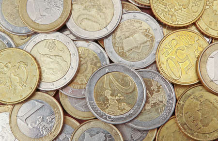 2 50: Pile of 50 cents, 1 and 2 euro coins for background
